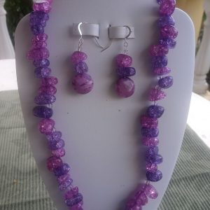Purple crackle nugget beaded necklace with flat purple crazy lace focal beads and matching earrings