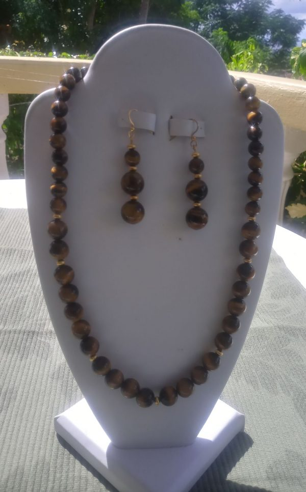 Tiger-eye beaded necklace with matching earrings