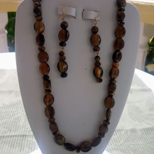 Tiger-eye flat oval beaded necklace with matching earrings