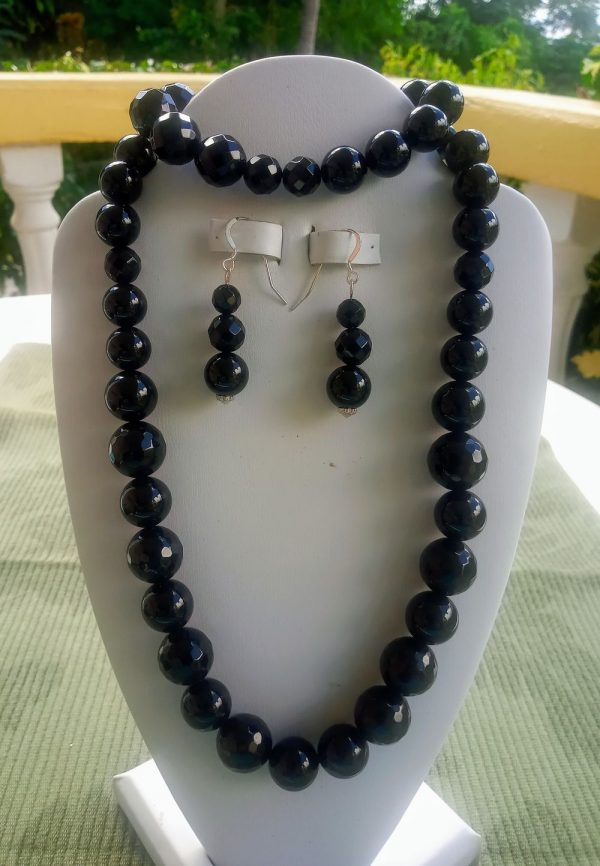 Black Onyx beaded necklace with matching earrings and bracelet