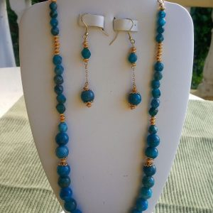 Blue and gold apatite beaded necklace with matching dangling earrings