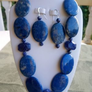 Blue oval lapis beaded necklace with matching earrings