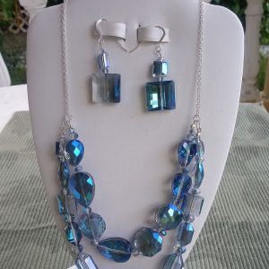 Blue sparkly translucent lapis beaded necklace and matching earrings