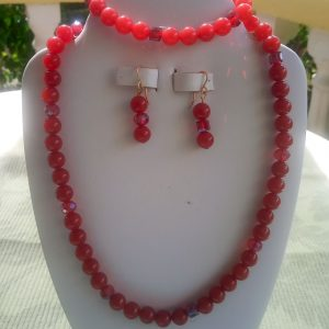 Malaysia Red Jade beaded necklace with matching earrings and bracelet