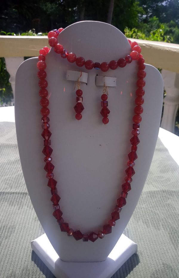 Malaysia red jade beaded necklace with red rondelles and matching earrings and bracelet