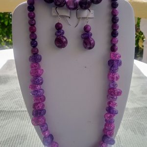 Purple crazy lace beaded necklace with purple crackle glass nuggets and matching earrings and bracelet