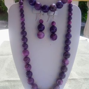 Purple jade and purple crazy lace beaded necklace with matching earrings and bracelet