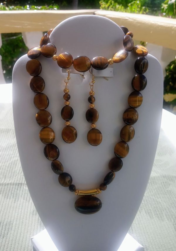 Tiger Eye flat oval beaded necklace with matching earrings and necklace