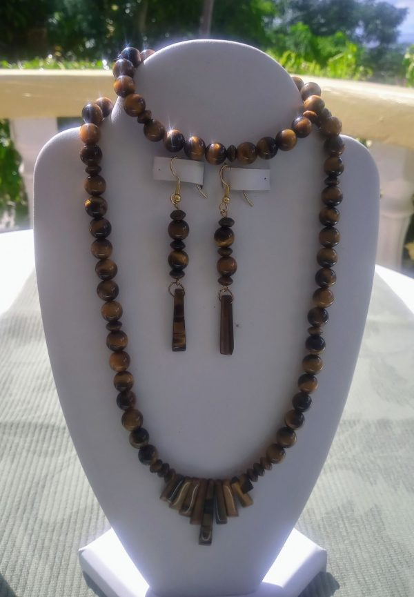 Tiger eye beaded necklace with tiger eye fan and matching earrings and bracelet