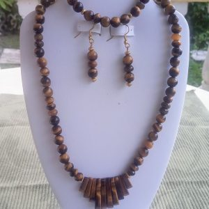 Tiger eye beaded necklace with tiger eye fan focal and matching earrings and bracelet